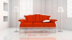 Preview wallpaper sofa, bathroom, lamps, curtains