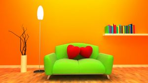 Preview wallpaper sofa, heart, room, 3d graphics, orange background