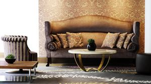 Preview wallpaper sofa, wall, chair, pattern, vase, flower, table, paul, pillows, brown, room, interior