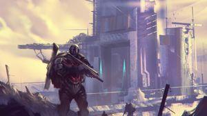 Preview wallpaper soldier, armor, guns, gun, army, fantasy, art