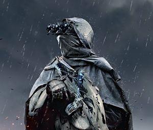 Preview wallpaper soldier, cloak, sniper, rifle, sparks, art