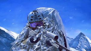 Preview wallpaper soldier, military, rifle, sniper, art