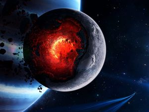 Preview wallpaper space, cataclysm, planet, art, explosion, asteroids, comets, fragments