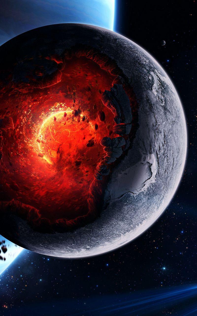 800x1280 Wallpaper space, cataclysm, planet, art, explosion, asteroids, comets, fragments