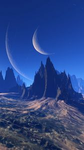 Preview wallpaper space, extraterrestrial, mountains, universe, planet, art