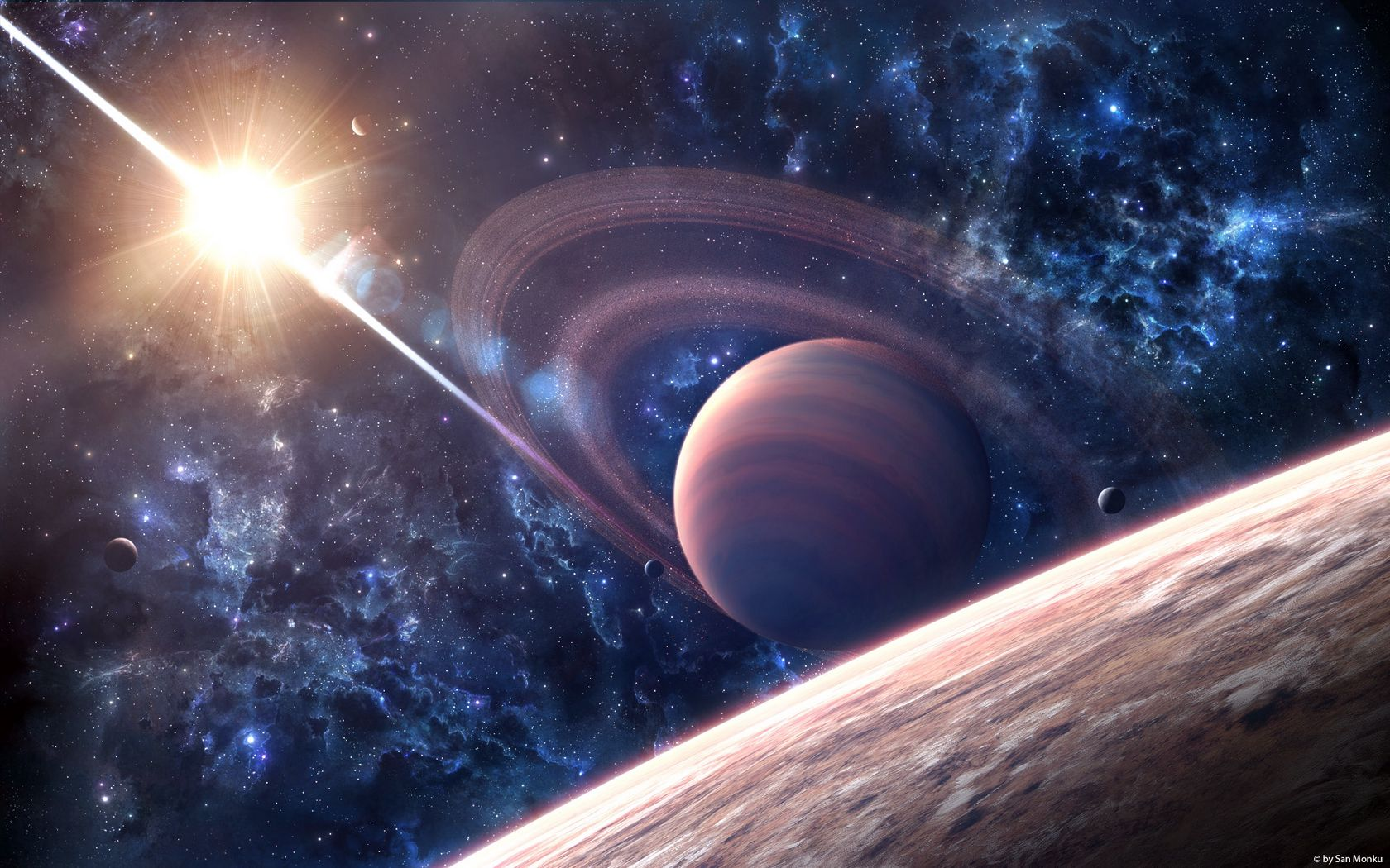 1680x1050 Wallpaper space, galaxy, saturn, planet