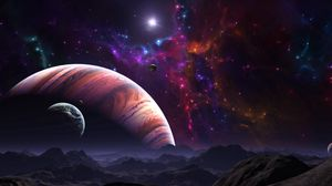 Preview wallpaper space, open space, planets, art, colorful