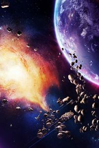 Preview wallpaper space, planet, explosion, light