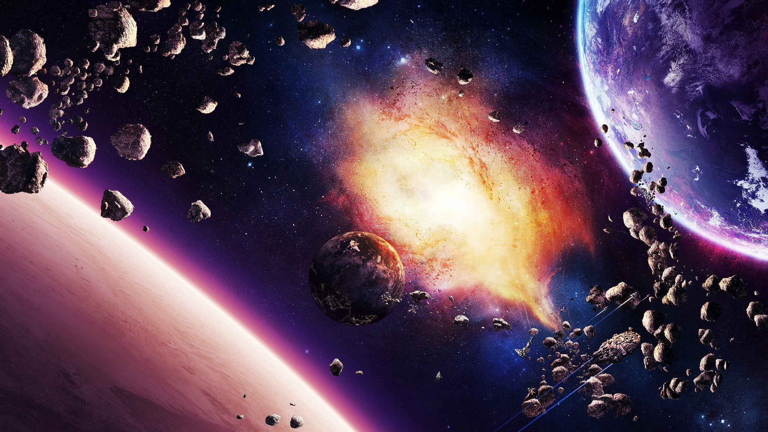 2560x1440 Wallpaper space, planet, explosion, light