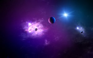 Preview wallpaper space, planet, light, galaxy