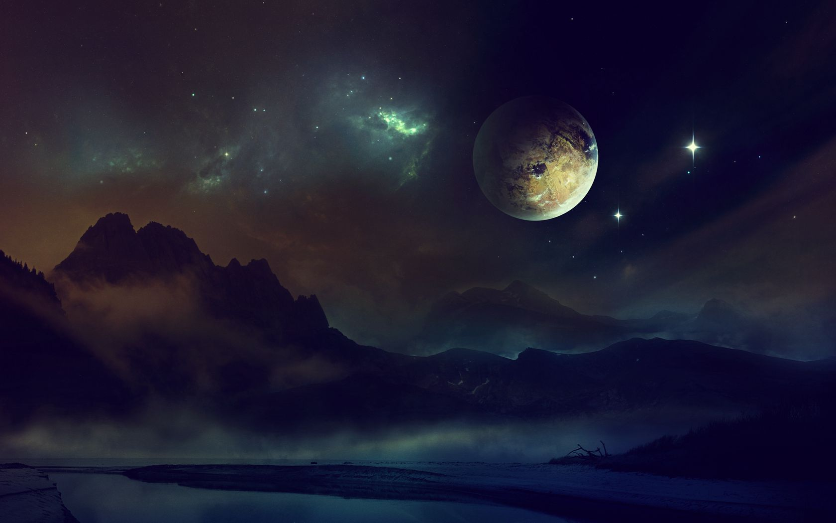 1680x1050 Wallpaper space, planet, light, night, sky