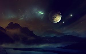 Preview wallpaper space, planet, light, night, sky