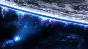 Preview wallpaper space, planet, orbit, close-up, stars