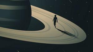 Preview wallpaper space, planet, saturn, jupiter, stars