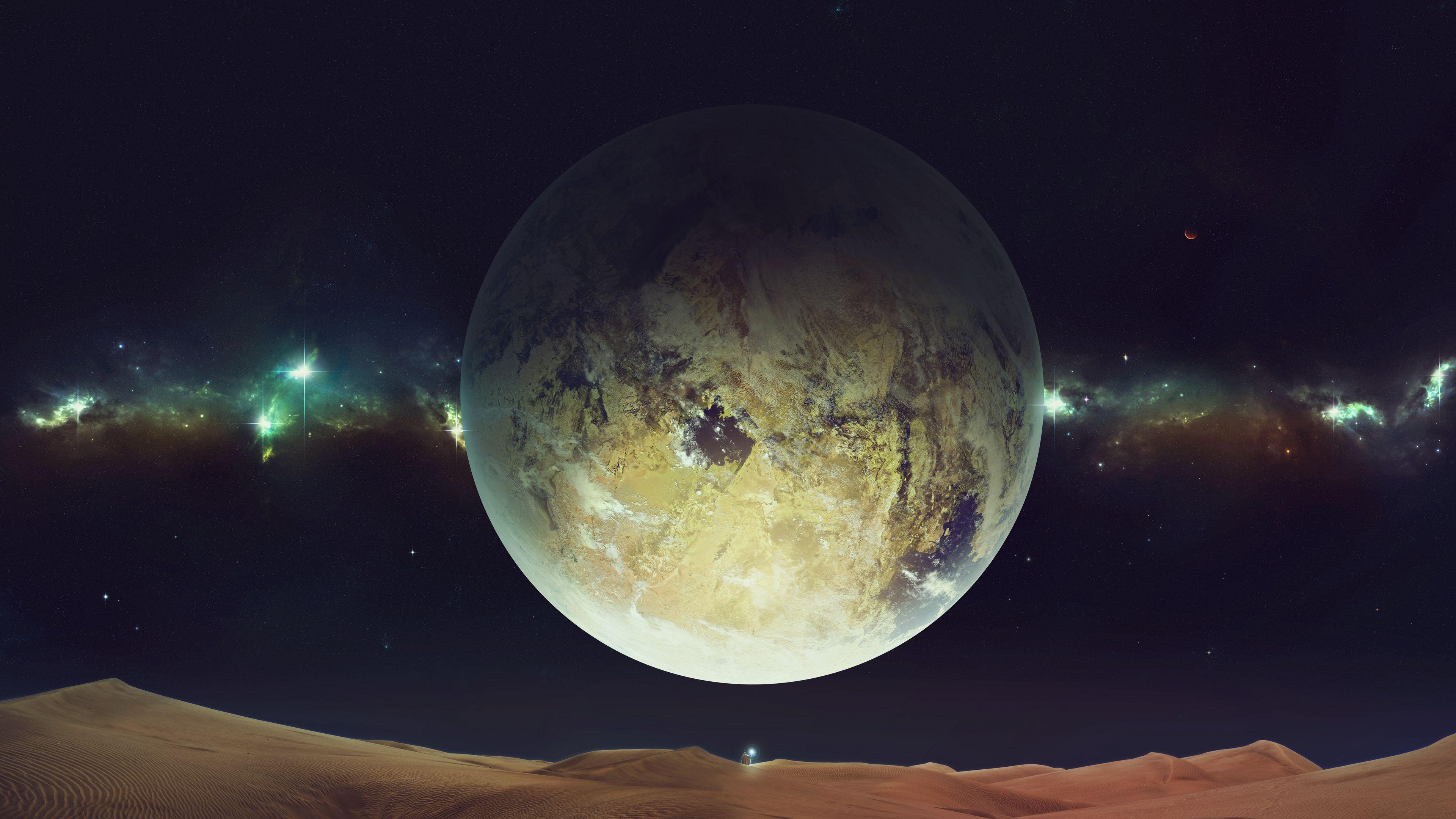 3840x2160 Wallpaper space, planet, sky