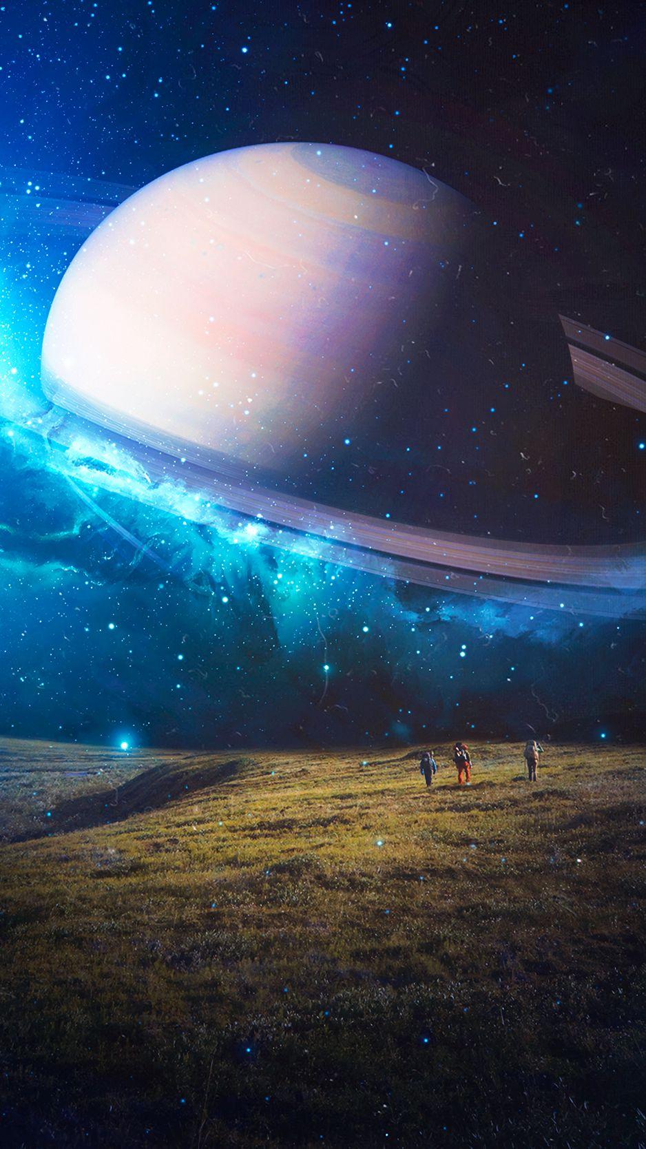 938x1668 Wallpaper space, planet, stars, future