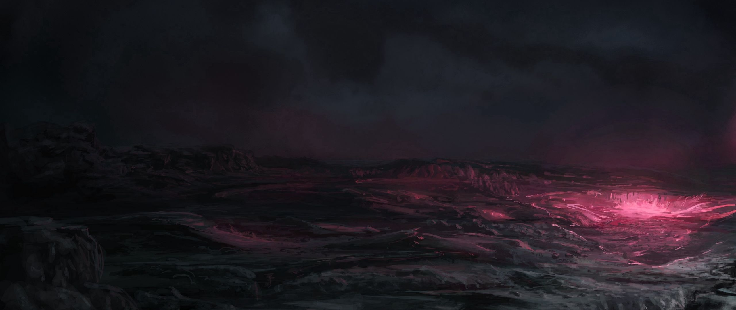 2560x1080 Wallpaper space, planet, surface, shadow