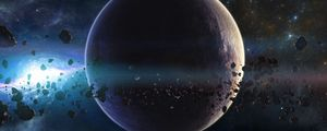Preview wallpaper space, planets, asteroids, stars, belt, galaxy