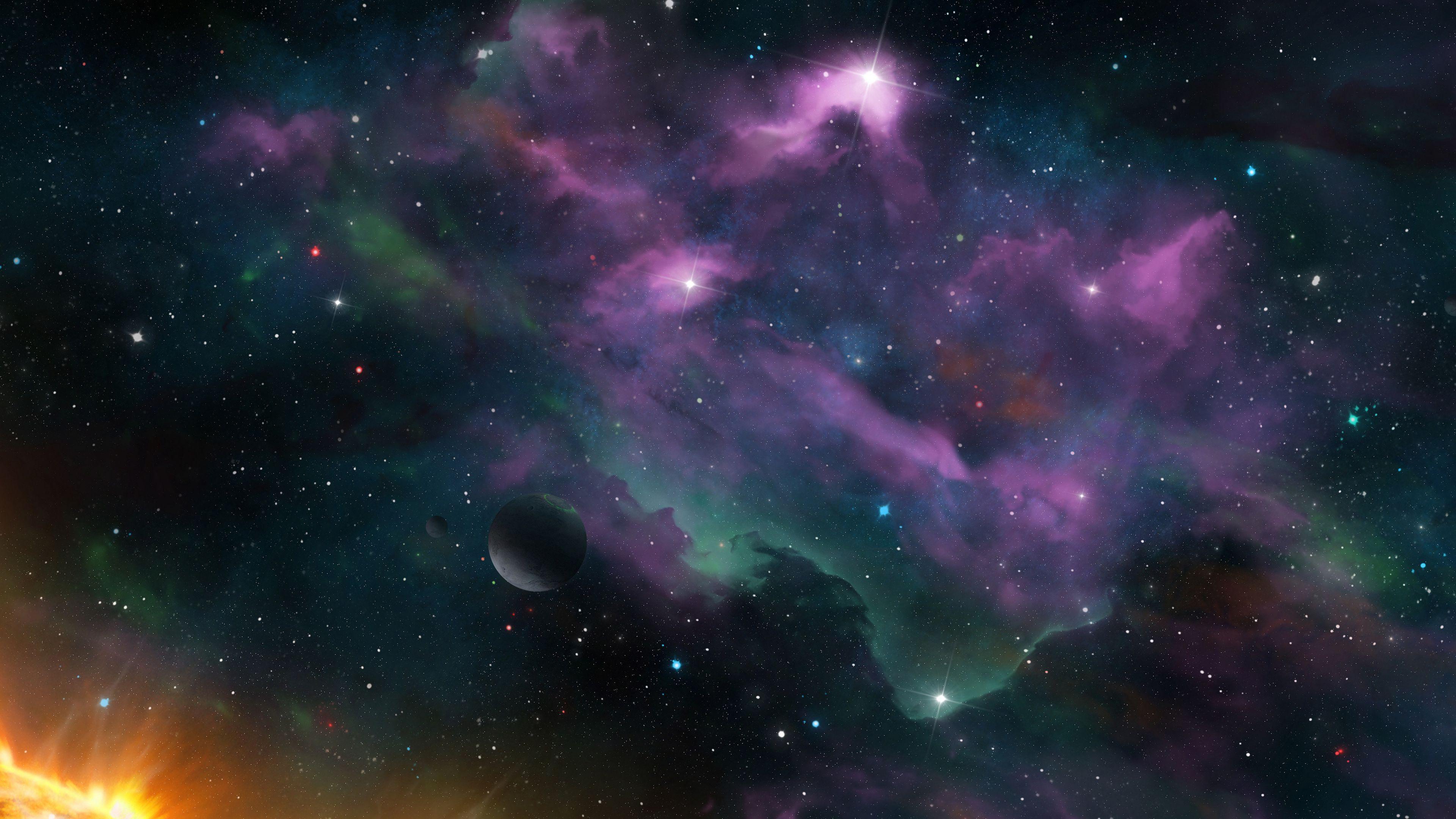 3840x2160 Wallpaper space, planets, nebula, stars, galaxy