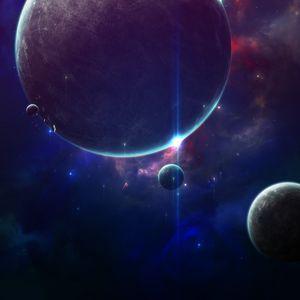 Preview wallpaper space, planets, shine, flash, universe