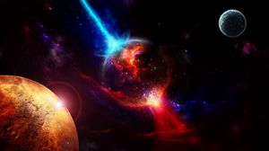 Preview wallpaper space, planets, takeoff, explosion