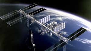 Preview wallpaper space, station iss, earth, shuttle