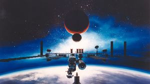 Preview wallpaper space station, moon, earth, mars, galaxy, universe