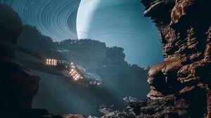 Preview wallpaper spaceship, rocks, jupiter, planet, illusion