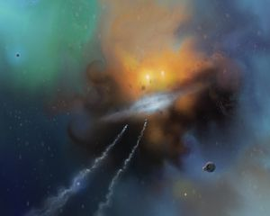 Preview wallpaper spaceships, speed, nebula, space, art