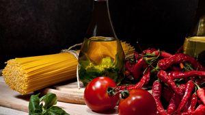 Preview wallpaper spaghetti, oil, decanter, tomato, pepper, greens