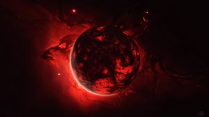 Preview wallpaper sphere, ball, glow, red, dark