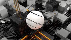 Preview wallpaper sphere, cubes, tangled, volumetric, 3d