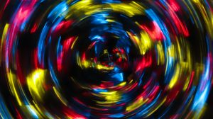 Preview wallpaper spiral, light, long exposure, blur, glare, colorful