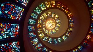 Preview wallpaper spiral, light, stained glass, windows