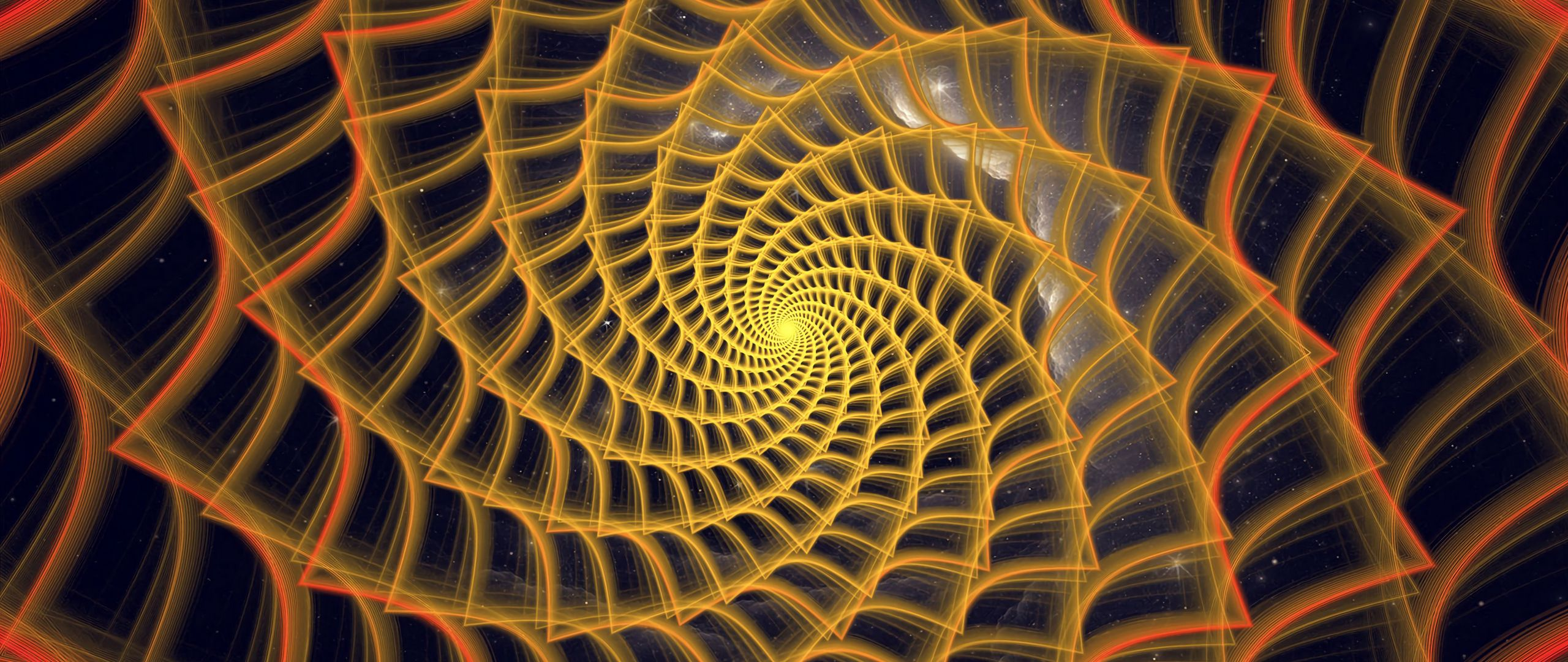 2560x1080 Wallpaper spiral, twisted, tangled, fractal, abstraction