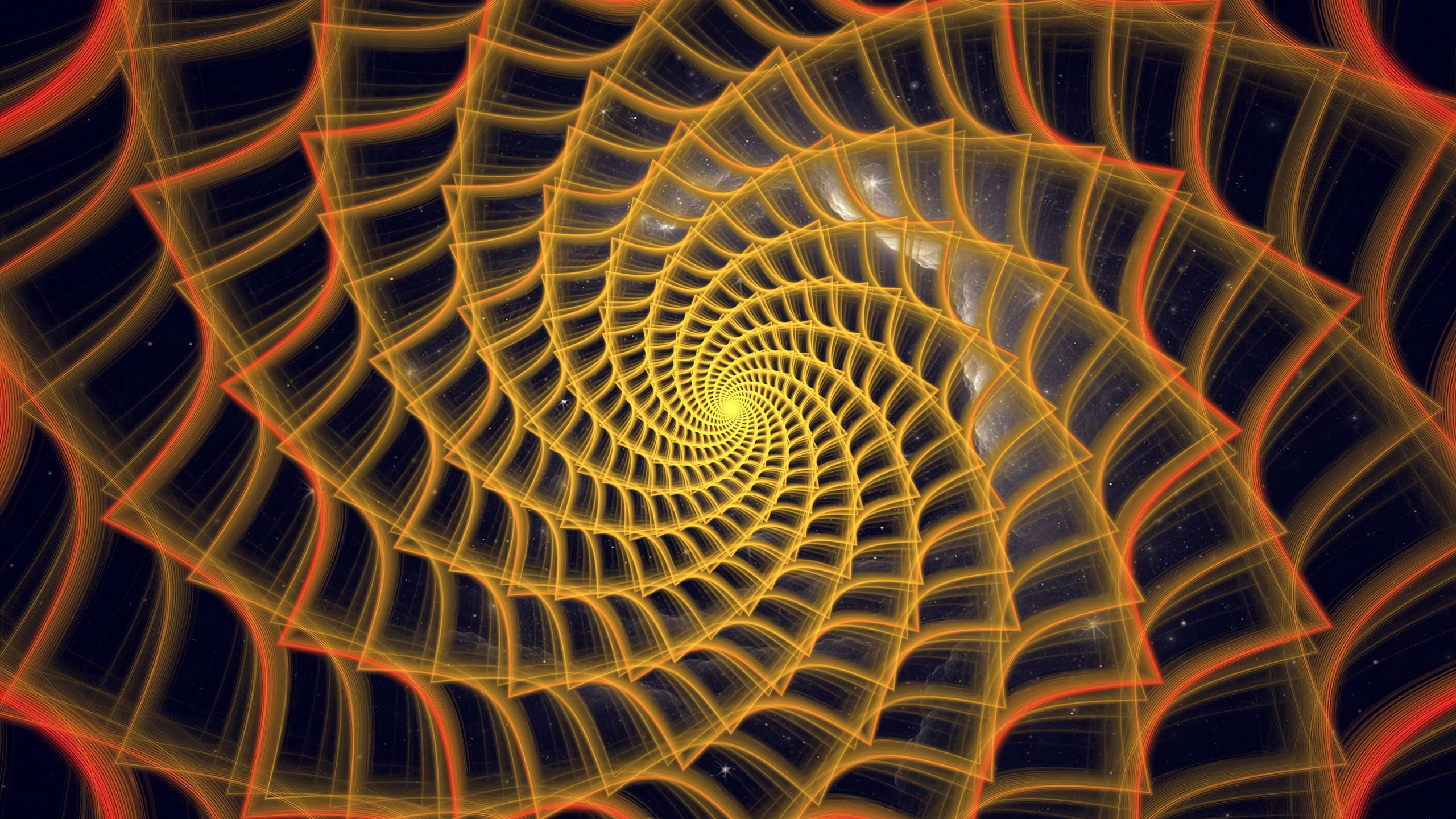 2560x1440 Wallpaper spiral, twisted, tangled, fractal, abstraction