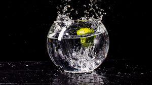 Preview wallpaper splash, drops, water, glassy, black