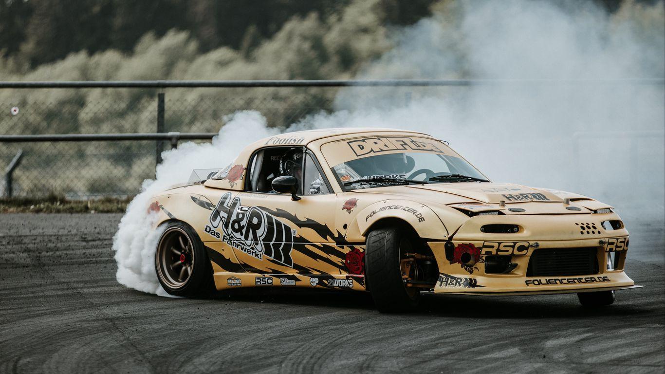 1366x768 Wallpaper sports car, drift, race, tuning