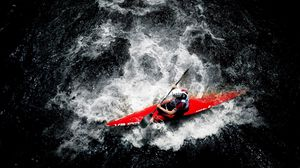 Preview wallpaper sports, rowing, boat, person, river, water