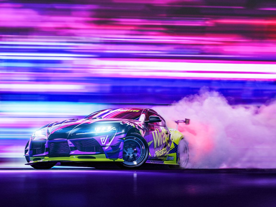 1152x864 Wallpaper sportscar, drift, neon, smoke, speed