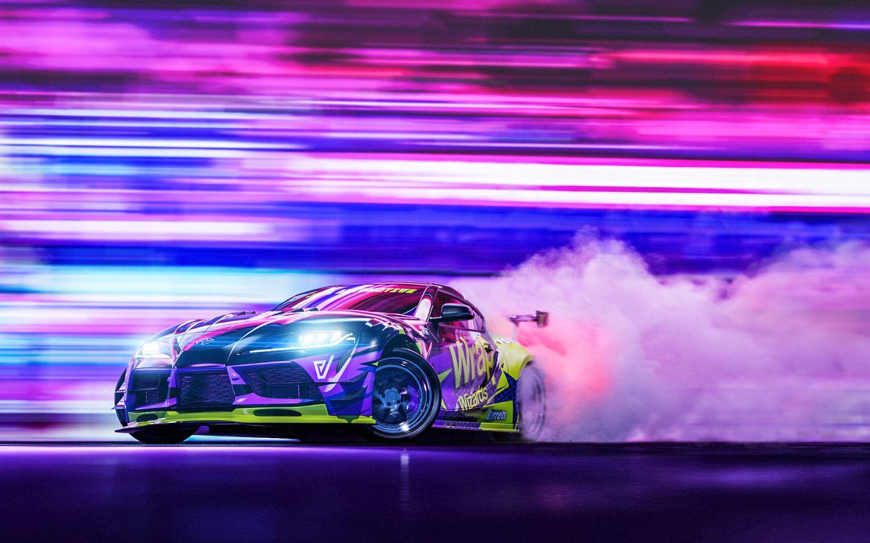1440x900 Wallpaper sportscar, drift, neon, smoke, speed