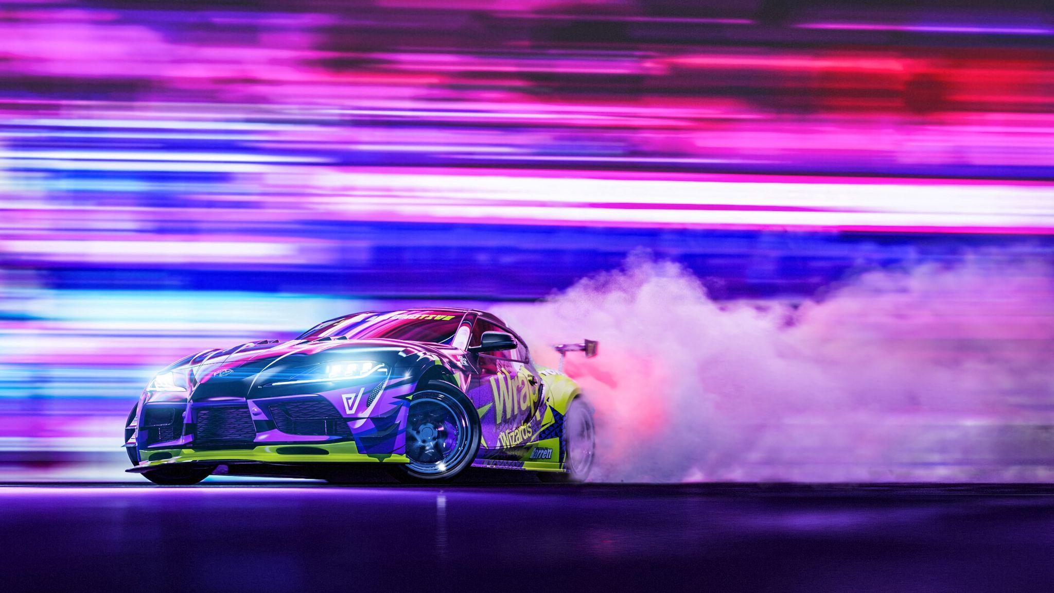 2048x1152 Wallpaper sportscar, drift, neon, smoke, speed