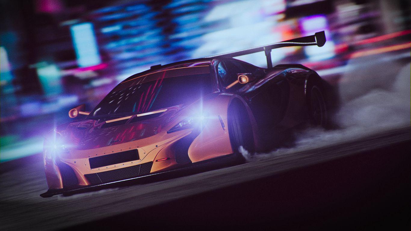 1366x768 Wallpaper sportscar, drift, speed, night, light, smoke