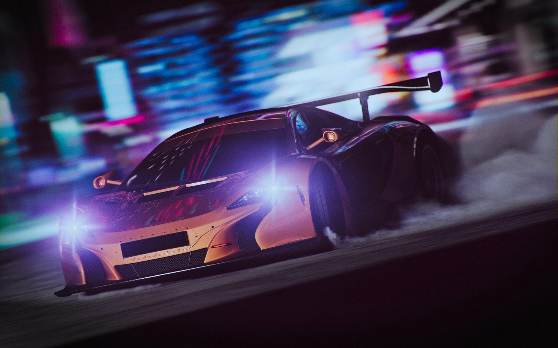 1440x900 Wallpaper sportscar, drift, speed, night, light, smoke