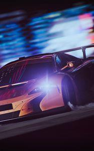 Preview wallpaper sportscar, drift, speed, night, light, smoke