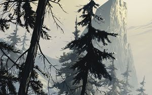 Preview wallpaper spruce, art, forest, winter, branches