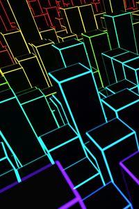 Preview wallpaper squares, lines, volume, 3d, colorful, black