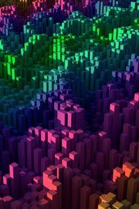 Preview wallpaper squares, pillars, gradient, colorful, 3d