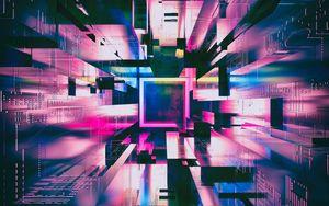 Preview wallpaper squares, shapes, glow, purple, 3d