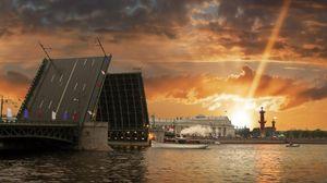 Preview wallpaper st petersburg, russia, river, city, bridge, sunset